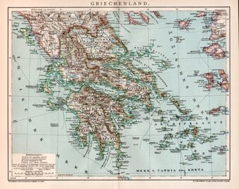 1898 Greece Map, Antique Print, Greek Islands, Lithograph Print, Old Map, Athens, Cyclades, Santorini, Mykonos, Skyros, Corfu, Zakinthos