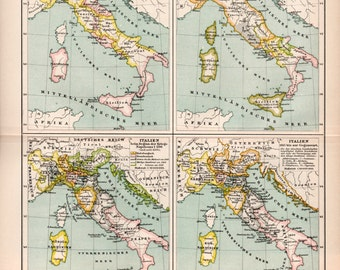 1898 Italy Historic Map, Antique Print, Lithograph Print, Old Map of Sicily, Sardinia, Middle Ages Italy, Italian History, Venice, Toscana