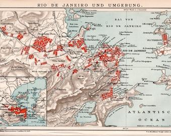 1898 Rio de Janeiro Old Map, Antique Print, Copacabana, Botafogo, Corcovado, Tijuca, Guanabara Bay, Niteroi, Lithograph City Map, Brasil