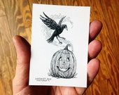 Original Halloween ACEO, Pen and Ink Illustration of a Raven and a Smiling Jack-o-Lantern, Black and White Drawing by Laurie A. Conley