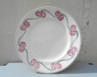 French antique cake stand from Longwy, grey and pink decor, shabby chic, cottage chic decor.