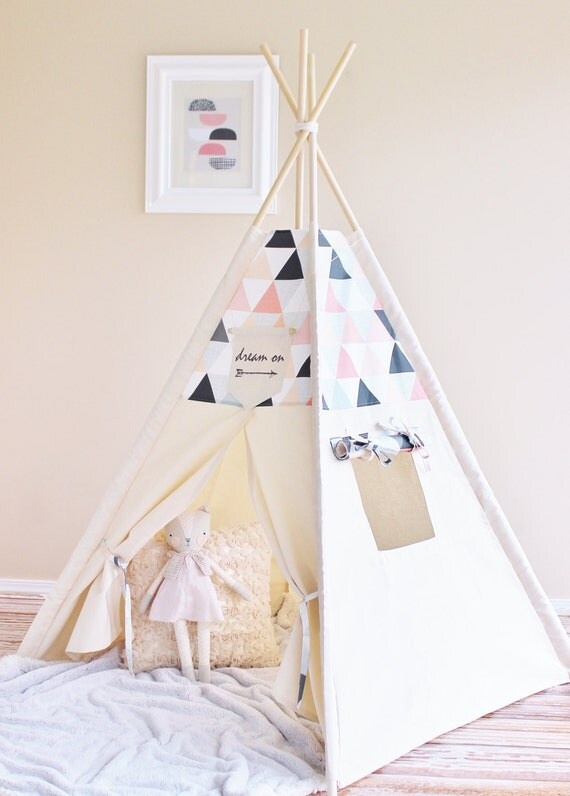 Pink and Peach Canvas Play Tent