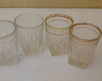 "Vintage (4) PC Federal ""Park Avenue"" gold trim  Shot Glasses"