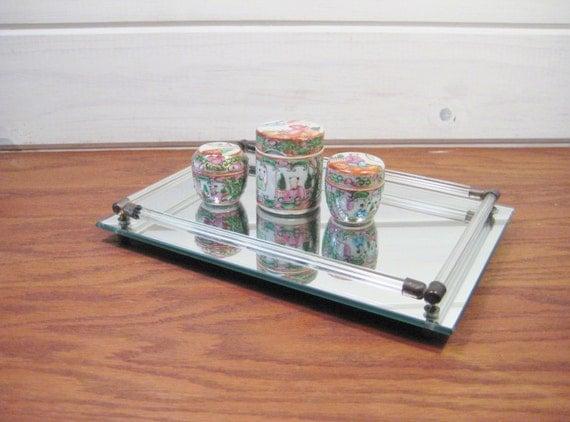 Mirrored vanity tray perfume tray unisex bathroom tray home for Mirrored bathroom tray