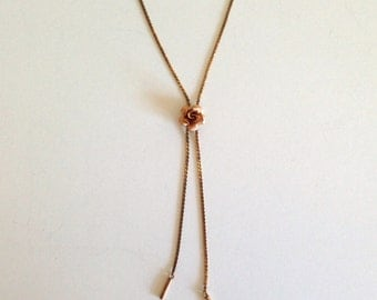 KREMENTZ Lariat Necklace with Rose Detail - Vintage Accessory