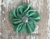 SALE Jade Green Satin Flower Hair Clip, Dark Mint Hair Bow, Green & Silver Flower Accessory, Alligator Clip, Flower Girl Hair Accessory, Bow
