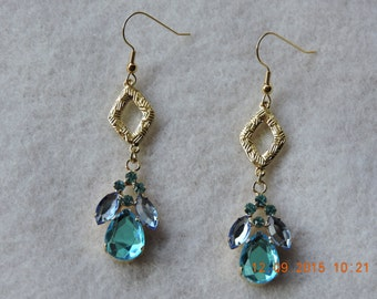 Gold Tone Dangle Earrings-French Hook-Turquoise- Blue Crystal Accents-Diamond Textured Charms-Gift for Her