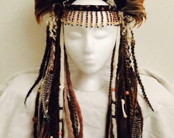 Voodoo Priestess Skull and Feather Headdress