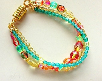 Multicolor Crystal Multistrand Bracelet Turquoise, Yellow Citrine, Pink - 3 Strands With Gold Tone Magnetic Clasp