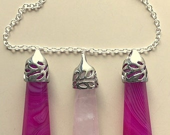 Wand Pendants Rose Quartz and Rose Agate - Rose and Pink Magic Healing Wands With Sterling Silver Chain Necklace