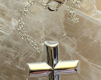 Sterling Silver Cross Pendant Necklace  - Sterling or Leather Unisex Sterling Cross Pendant Necklace