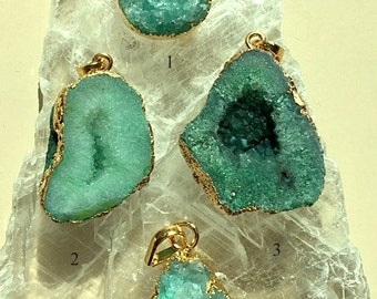 Blue/Green Crystal Druzy Geode Pendants or Necklaces 18K Gold Filled Chains