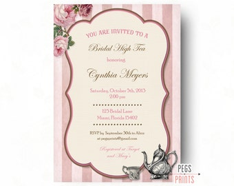 Bridal High Tea Invitation // Printable High Tea Invites // Bridal Shower Tea Party Invitation // Garden Bridal Shower // Rose Garden Party