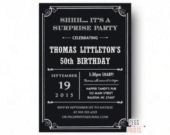 50th Surprise Birthday Invitation (Printable) Surprise 50th Birthday Invites for Men - Surprise 50th Birthday Invitation Male - Black Invite
