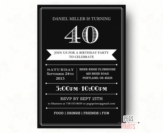 40th Birthday Invitations Printable 40th Birthday Invitation for