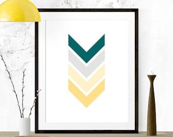 Teal Gold Grey Chevron Art, Chevron Print, Chevron Arrows, Chevron Nursery, Chevron Wall Print, Printable Art, Kitchen Print, Nursery Art