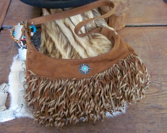 Turquoise and Faux Suede Fringe Bag Southwestern Style
