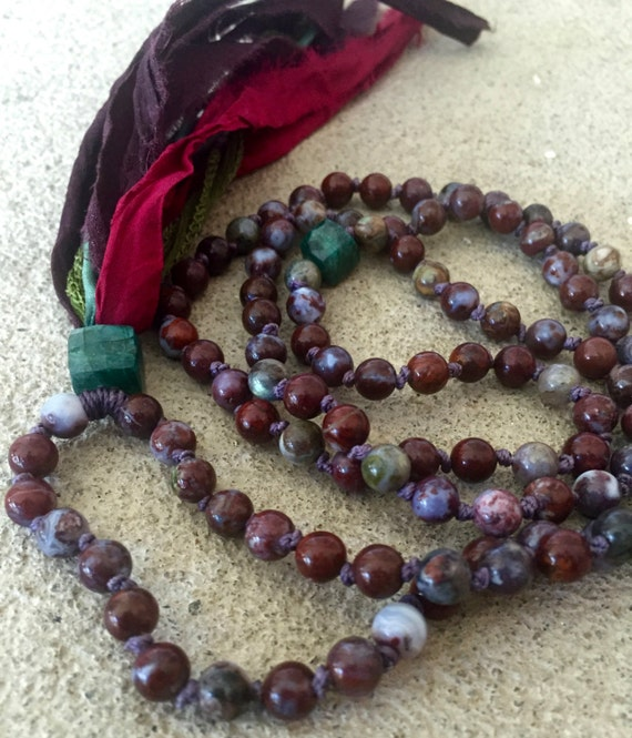 108 Red Lightning Agate Mala Beads Green Labradorite Root Chakra Silk Sari Tassel Meditation Yoga Jewelry