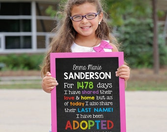 Adoption Sign, Adoption Announcement, Adoption Gifts, Adoption chalkboard, Adoption Print, Adoption Day, Gotcha Day Sign, ADOPTED SIGN