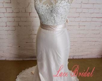 Nude Pink Lining Wedding Dress with Illusion Neckline Sheer Lace Bodice Bridal Gown with Long Sash Open Back Wedding Dress with Sheath Skirt