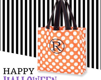 Orange and White Polka Dot Personalized Halloween Carryall, Goodie Basket, Toy Bucket, Treat Bag