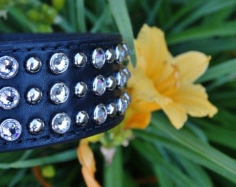 Black Leather and Crystal Collar for large dogs
