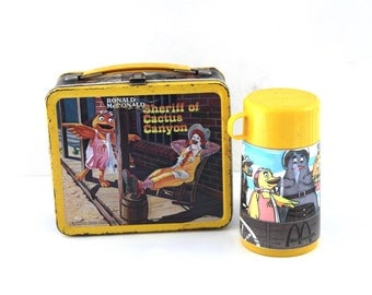 Vintage McDonalds lunchbox metal aladdin 70s thermos