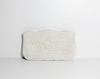 1950s White Evening Clutch | White Beaded Clutch | Beaded Wallet | Embellished Clutch