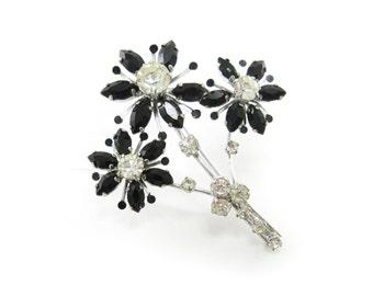 Vintage Rhinestone Flower Brooch, Spray, Boquet Brooch, Black Navette Stones, Clear Stone, Silver Tone