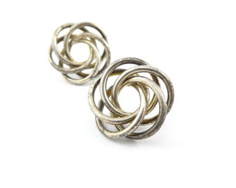 Vintage Sterling Knot Earrings, Swirl, Posts, Marked 925, Signed