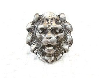 Vintage Lion Head Brooch, Pewter, Silver Tone