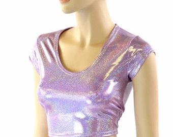 Lilac Purple Sparkly Jewel Holographic  Metallic Cap Sleeve Scoop Neck Crop Top -151554