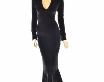 Black Velvet Morticia V-Neck Gown with Long Sleeves and Puddle Train 151555