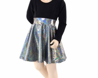Toddlers and Girls Size 2T 3T 4T and 5-12 Silver Holographic Party Dress with Black Zen Bodice & Long Sleeves 152310
