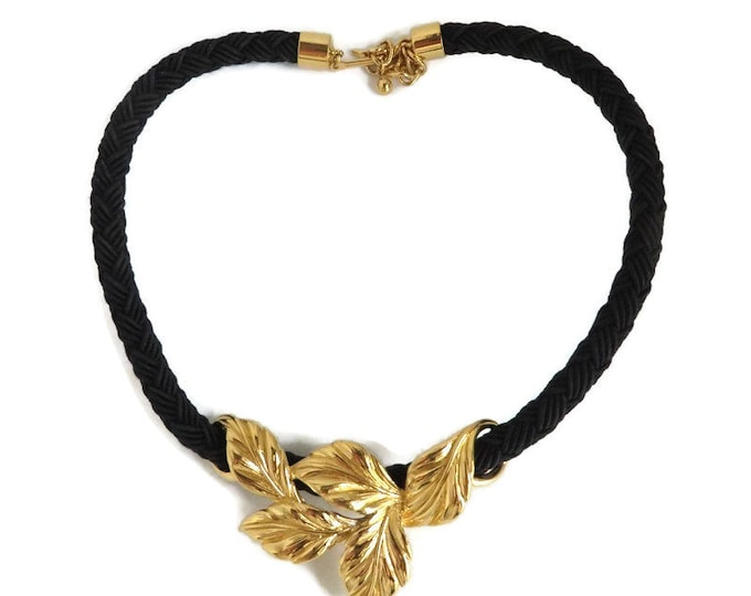 Gold Tone Leaf Braided Choker, Vintage Black Braid Necklace, Slide Pendant, FREE SHIPPING
