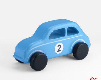 Wooden Toy Car Blue, Wooden Car, Childrens Gift, Classic Car Fiat 500