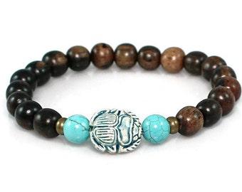 Scarab Bracelet, Egyptian Scarab Bracelet, Beetle Bracelet, Scarab Jewelry, Egyptian Scarab, Turquoise Scarab, Spiritual Crystals, Yoga Gift