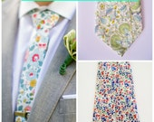 Custom Wedding Neckties, blue men's necktie. Liberty of London, skinny tie, blue floral tie, custom groomsmen ties, liberty print tie