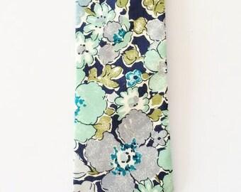 Green Men's Necktie, Liberty of London Tie, green floral tie, custom green tie, green skinny tie, ties for wedding, groomsmen tie set