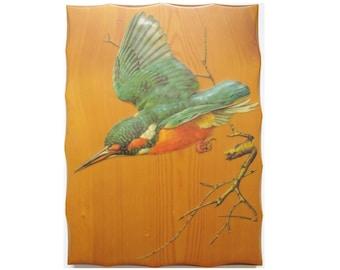 Vintage Decoupage on Wood Kingfisher Bird