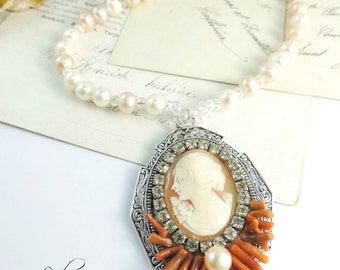 """Victorian necklace, """"Countess"""" cameo old, pearls"""