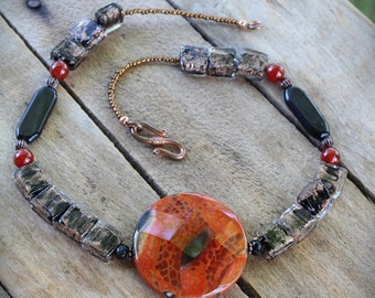NECKLACE: Bold Statement Piece, Rich Earthy, Fall, Autumn Jewelry, Fire Agate, Lampwork, Black, Carnelian, Hand Crafted, Artisan Quality
