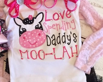 I love spending Daddy's Moolah Embroidery Shirt with or without matching bow Long Sleeve Dress Short Sleeve Ruffles Onesie Gown 5x7 Design