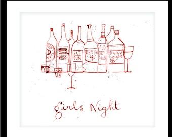 Girls night in Drinkeeeeepoos - Illustrated Print