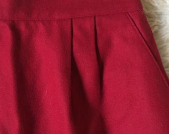Red Wool Knee Length High Waisted Skirt