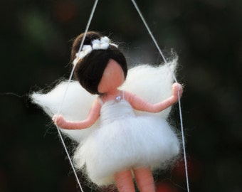 needle felted waldorf inspired Fairiy in white on the swing, Christmas, wool felt, made to order