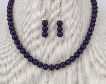 Purple Wedding Necklace, Bridal Jewelry Sets, Bridesmaid Gift Idea, Bridesmaid Jewelry, Beaded Jewelry, Gift for Her, Purple Weddings