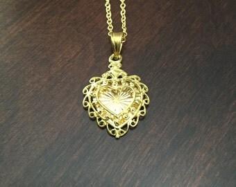 vintage heart locket, heart locket, vintage locket, gold heart locket, love locket, gold locket, gold necklace, heart necklace, necklace