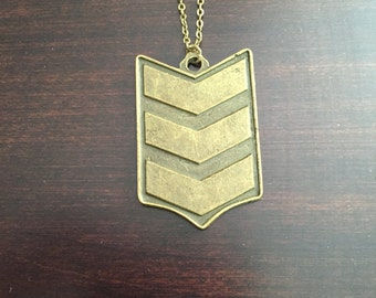 chevron necklace, chevron jewelry, bronze chevron, military necklace, military jewelry, vintage necklace, bronze necklace, necklace