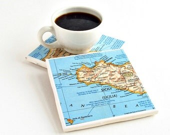 Personalized Map Coasters / Employee Christmas Gifts / Personalized Employee Gifts / Gifts for Coworkers / Hostess Gift / Moving Away Gift